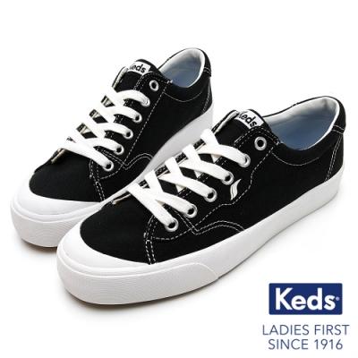 Keds CREW KICK 經典半月帆布綁帶休閒鞋-黑