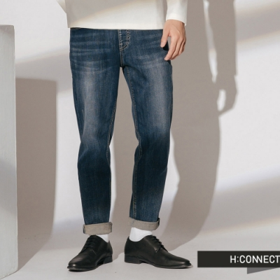 H:CONNECT 韓國品牌 男裝 -抽繩褲頭刷色牛仔褲-藍(快)