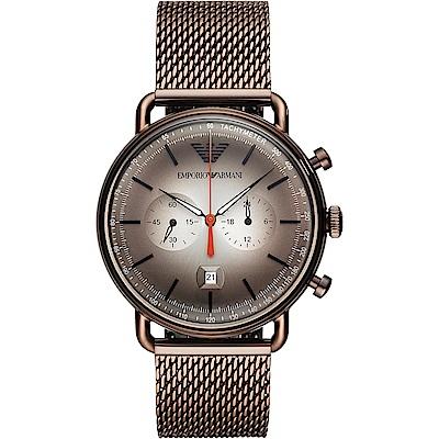 Emporio Armani 亞曼尼 Dress 亞曼尼計時手錶-咖啡/43mm