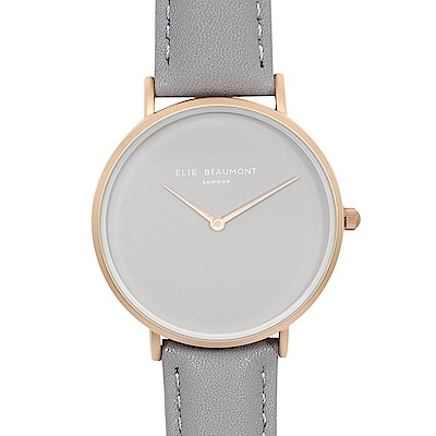 Elie Beaumont 英國時尚手錶 HOXTON系列 灰錶盤錶帶x玫瑰金錶框38mm
