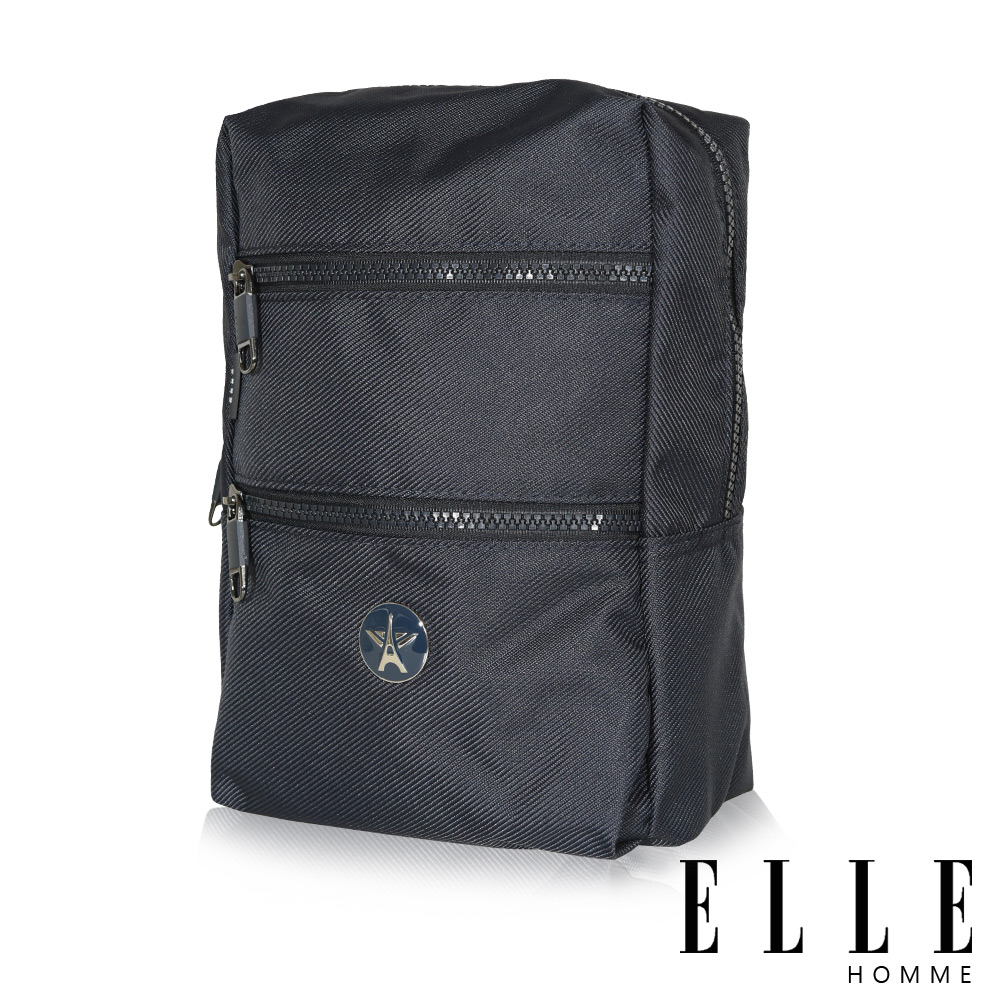 福利品 ELLE 巴黎輕旅商務雙層拉鍊單肩側背包-深藍色