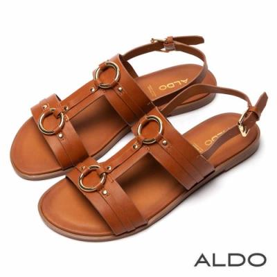 ALDO 原色真皮鞋墊佐金屬拉帶木紋跟涼鞋~都會焦糖