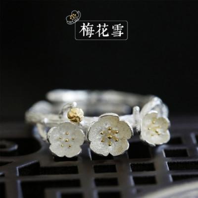 東方美學素銀古典文藝花朵925純銀戒指可調節-設計所在