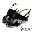 GDC-真皮異材拼接質感典雅涼鞋-黑色