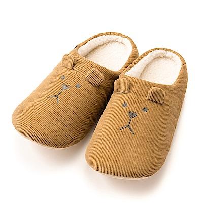 CRAFTHOLIC宇宙人 復古燈芯絨熊室內拖鞋( 男生尺碼 )