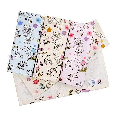 日本丸真 今治紗布純棉花卉毛巾-粉色