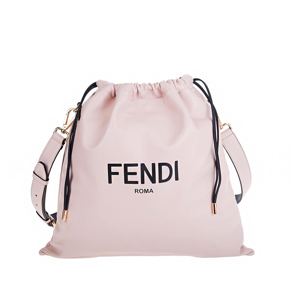 FENDI 新款Packaging系列霧粉納帕皮革PACK中型購物袋束口手拿/斜背包