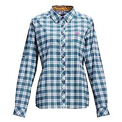 荒野【wildland】女彈性抗UV格子長袖襯衫湖水藍