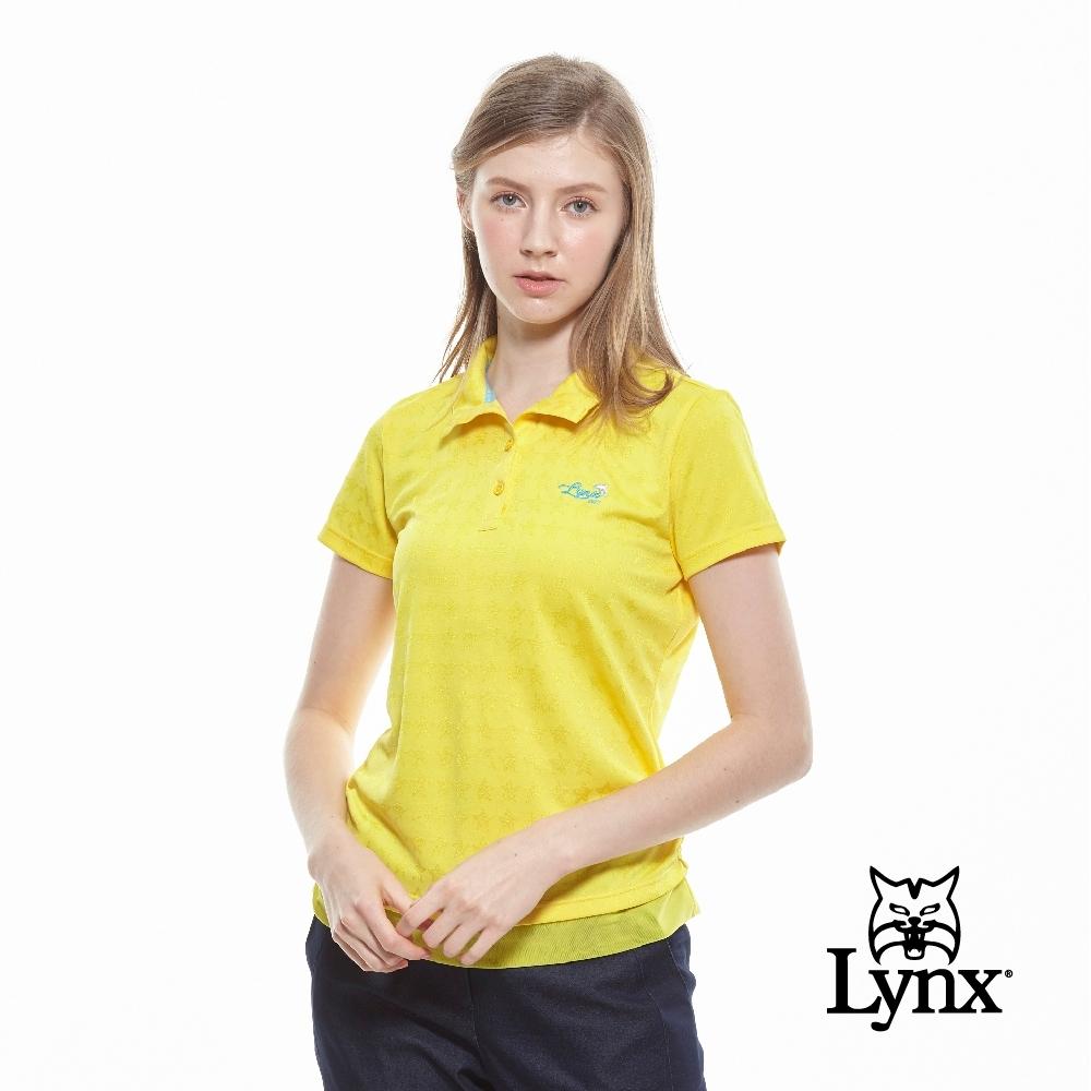 【Lynx Golf】女款吸濕排汗緹花亮光星星短袖立領POLO衫-黃色