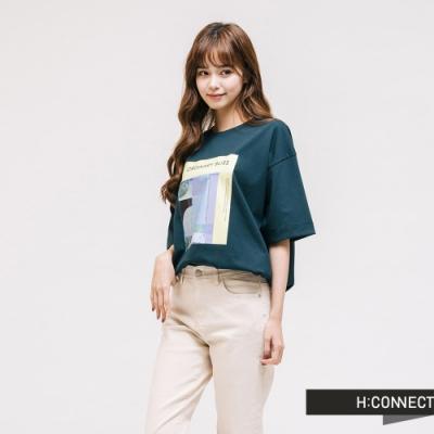 H:CONNECT 韓國品牌 女裝 - 彩圖落肩休閒短T-綠