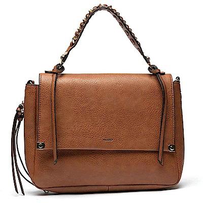 ALDO 原色流蘇金屬鏈帶掀蓋式手提肩揹兩用包~優雅棕色