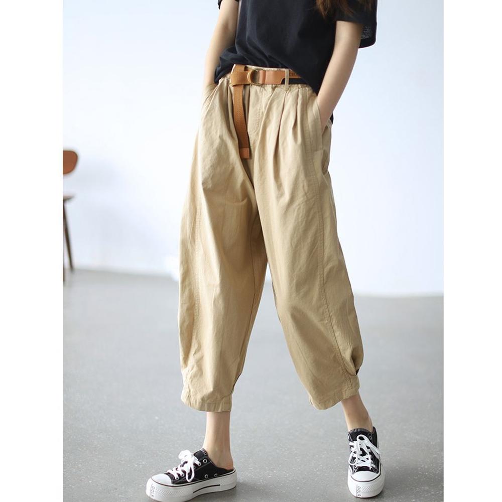 老爹褲高腰顯瘦九分哈倫褲送腰帶四色可選-設計所在 (卡其色)