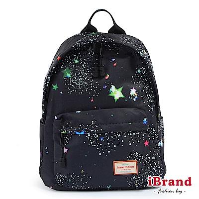 iBrand 學院風印花潮流防潑水口袋後背包-星空