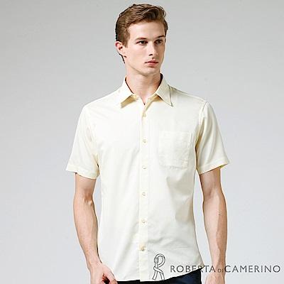 ROBERTA諾貝達 進口素材 台灣製 修身版 變化領口窄版短袖襯衫 淺黃