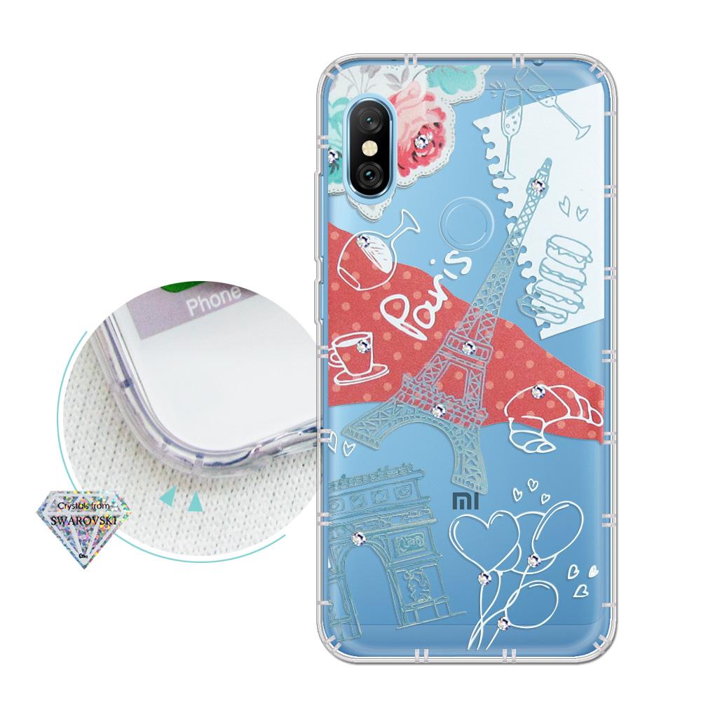 紅米Note 6 Pro 浪漫彩繪 水鑽空壓氣墊手機殼(巴黎鐵塔)