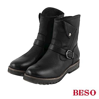 BESO 中性風潮 反折設計工程短靴~黑