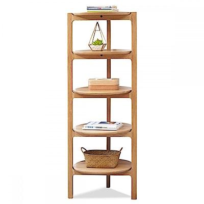 hoi! 原木日式和風白橡木實木圓盤形五層置物架w0122 (H014217071)