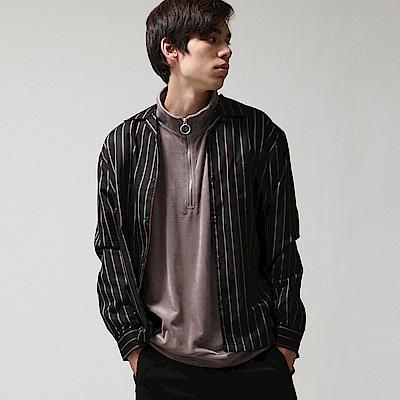 府綢古巴長袖開領襯衫(12色) ZIP日本男裝