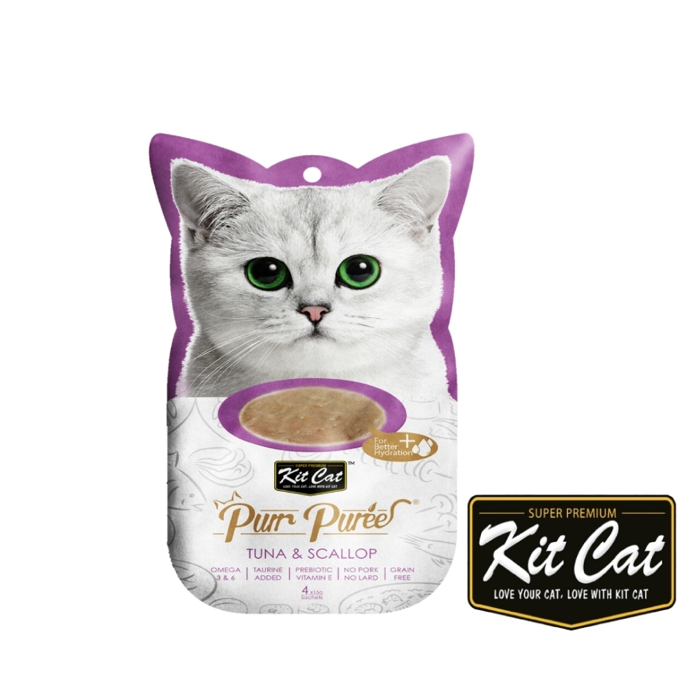 Kitcat呼嚕嚕肉泥- 鮪魚、扇貝 60g 貓零食 貓肉條 貓肉泥 化毛 牛磺酸