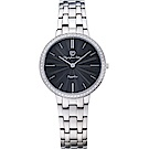 OlympiaStar 奧林比亞之星 時尚水波紋晶鑽腕錶-黑/34mm  58060DLS