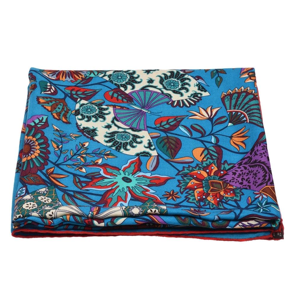 HERMES 經典繽紛植物花卉圖形羊毛大披肩(藍)