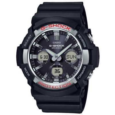 G-SHOCK獨特優雅金屬塗層設計強悍風範休閒錶(GAS-100-1)銀X黑52.5mm