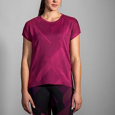 BROOKS 女 Array背開式透氣短袖 胭脂紅 (221288524)