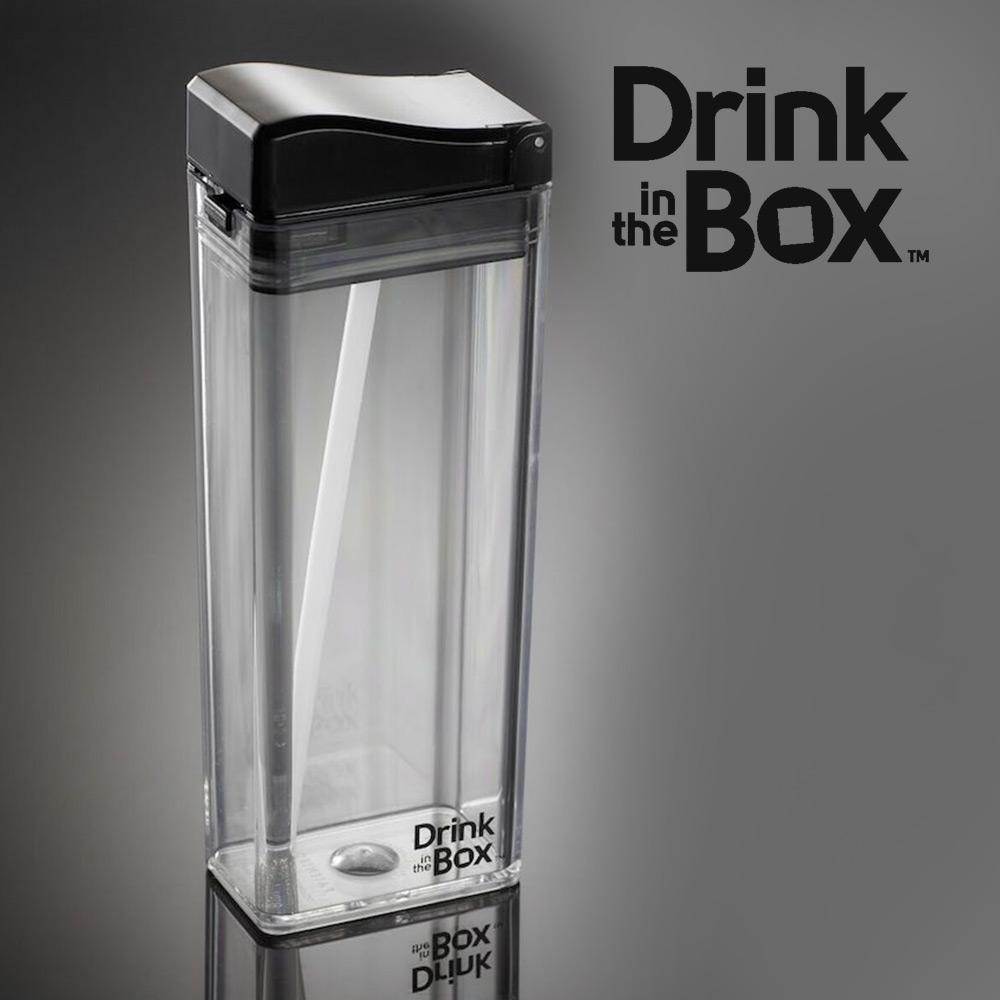 加拿大Drink in the box 兒童戶外方形吸管杯(大)-355ml-透明黑