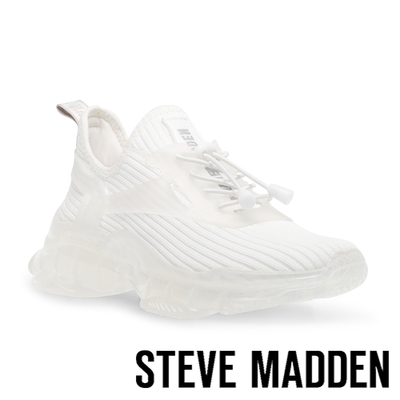STEVE MADDEN-MATCH-K 彈性織布氣墊休閒鞋-白色