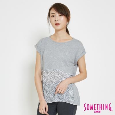 SOMETHING 拼接雪紡手繪T恤-女-麻灰