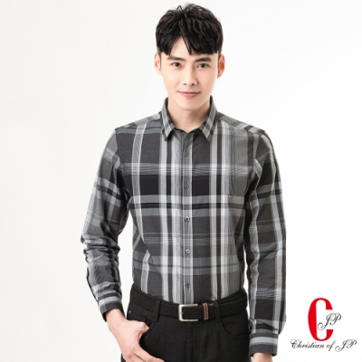 Christian 品味經典格紋襯衫_黑白格(RW821-85)