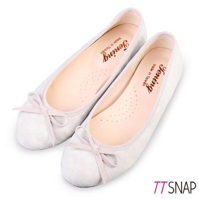 TTSNAP娃娃鞋-MIT細緻羊紋蝴蝶結平底鞋 灰