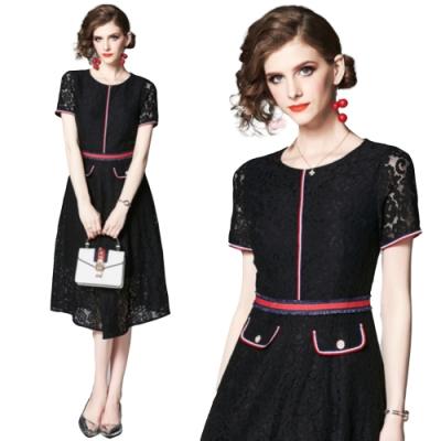 輕熟時尚黑蕾絲織帶收腰顯瘦洋裝S-2XL-M2M