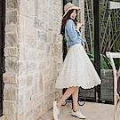 刺繡花朵蕾絲紗裙x背心洋裝-OB大尺碼