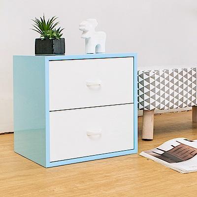 Birdie南亞塑鋼-1.3尺二抽收納櫃/床頭櫃(粉藍色+白色)-40x31x40cm