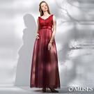 OMUSES 重工蕾絲V領釘珠漸層婚紗長禮服