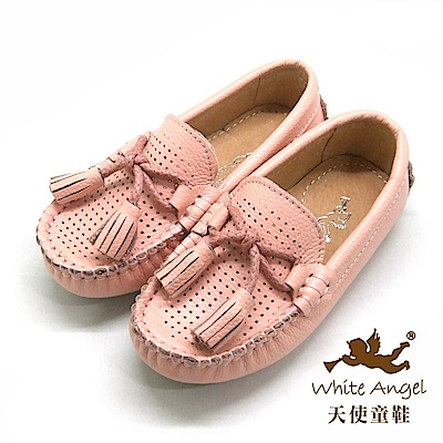 天使童鞋 真皮流蘇懶人鞋(中-大童)E9618-粉