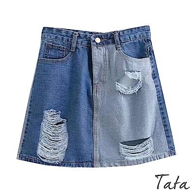 左右拼色刷破牛仔短裙 TATA