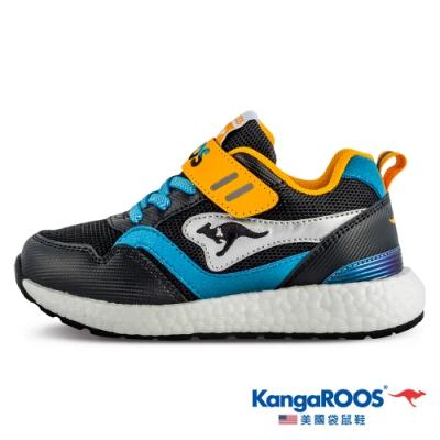 KangaROOS 美國袋鼠鞋 童鞋 RACER EVO 科技運動機能跑鞋/休閒鞋/運動鞋/兒童鞋(黑黃藍-KK11310)
