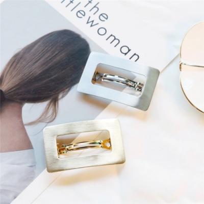 【89 zone】法式幾何方塊金屬馬尾彈簧夾髮夾/髮飾(銀色)