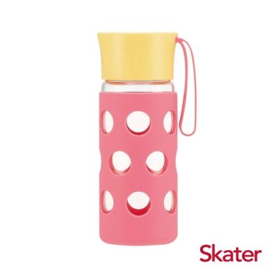 Skater玻璃隨行杯(含杯套)400ml 粉