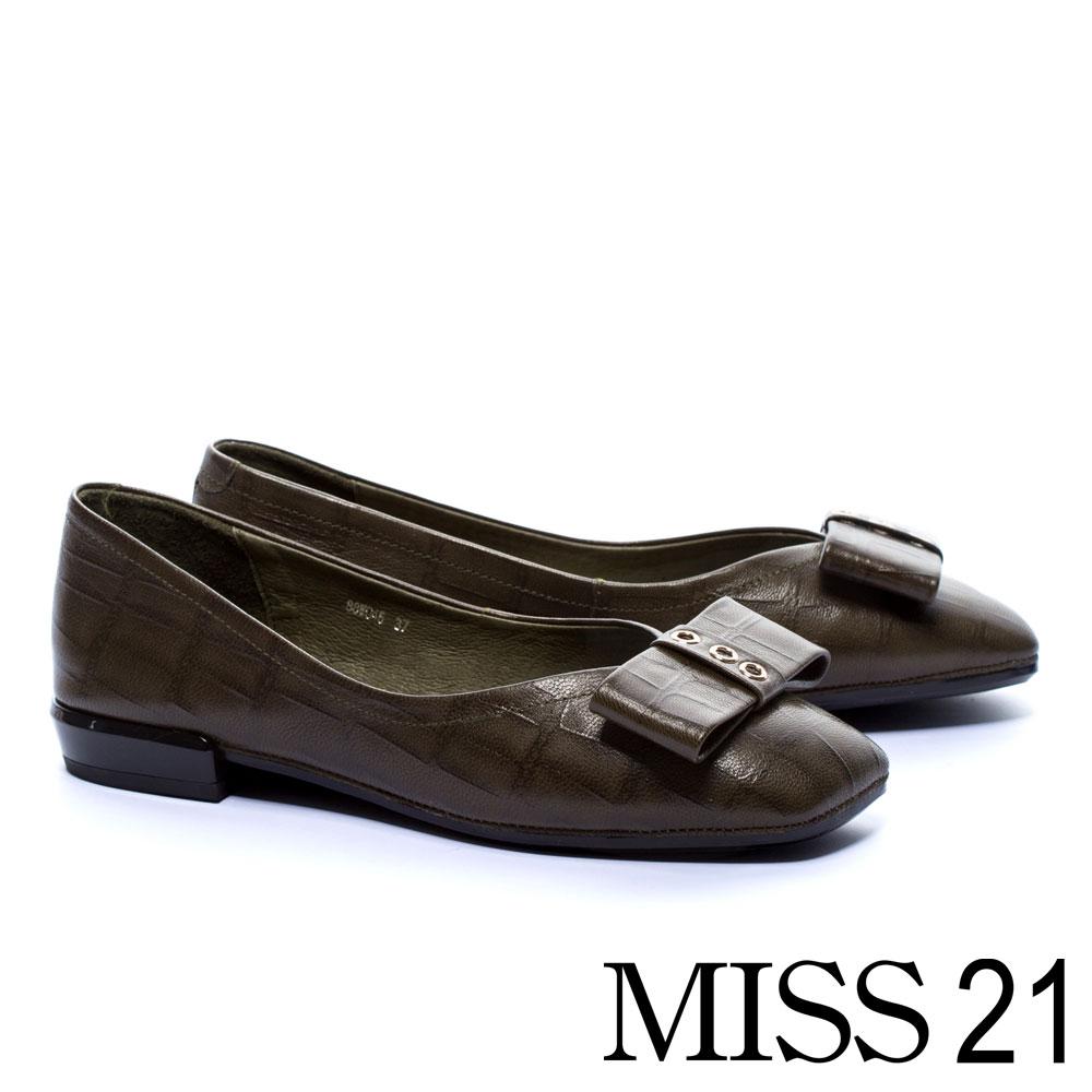 低跟鞋 MISS 21 復古壓紋蝴蝶結造型全真皮低跟鞋-綠