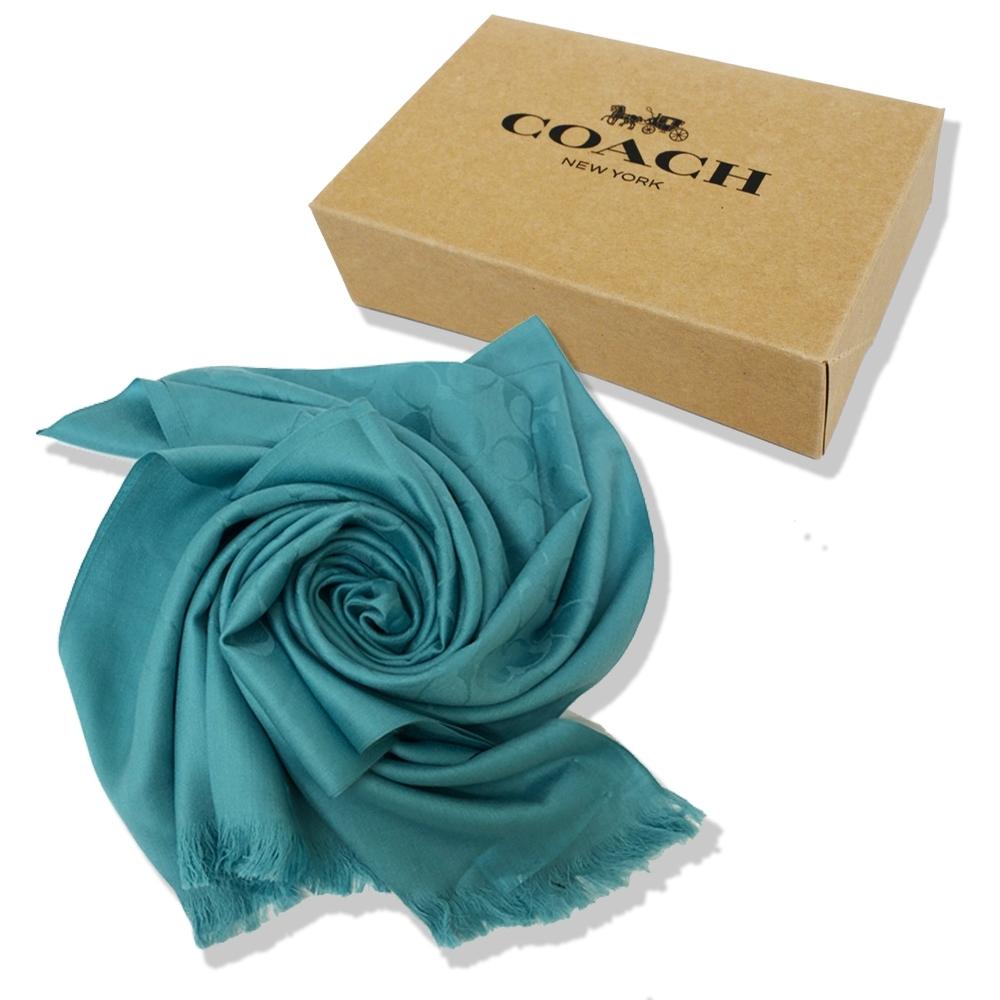 COACH 經典C LOGO羊毛混莫代爾絲巾圍巾禮盒(土耳其藍)