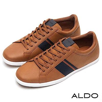 ALDO 撞色系拼接異材質綁帶式刻痕平底休閒男鞋~個性焦糖