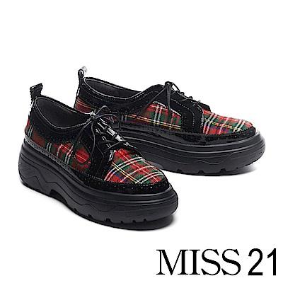 厚底鞋 MISS 21 復古格紋學院風異材質綁帶厚底鞋-格紋