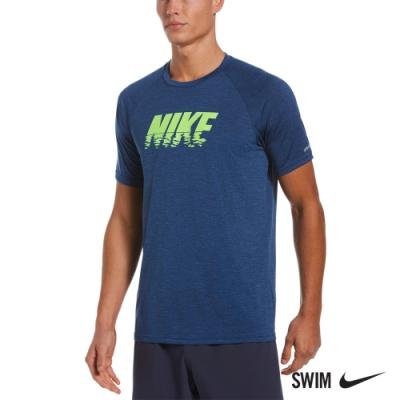 NIKE 成人 運動 短袖 上衣 抗UV 防曬衣 男款 HEATHER SUNSET LOGO 寶藍 NESSB660-494
