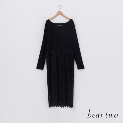 beartwo-蕾絲百摺洋裝-黑