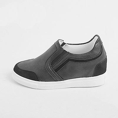 【AIRKOREA韓國空運】正韓皮革質感拼接休閒隱形增高鞋-黑
