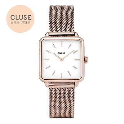 【公司貨】CLUSE La Tetragone 方框系列腕錶 (玫瑰金框/白面/玫瑰金米蘭帶)