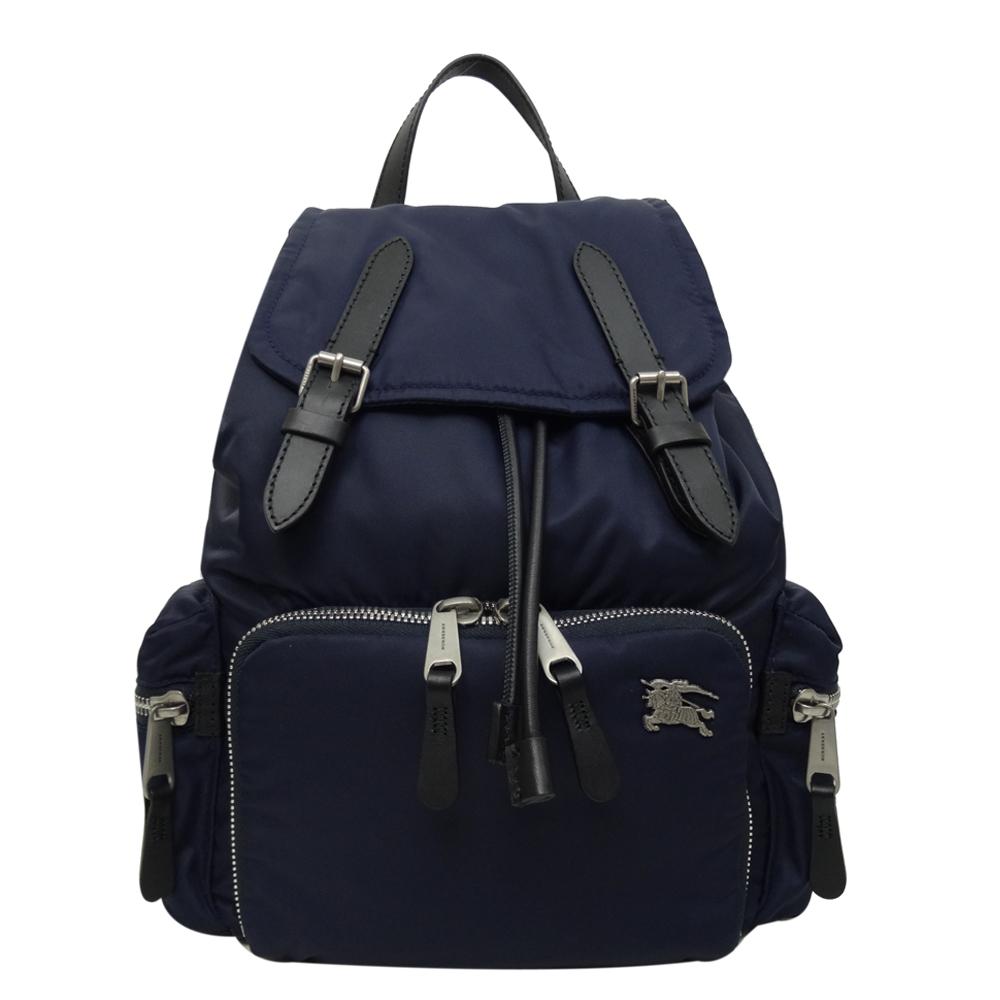 BURBERRY 戰馬LOGO鋪棉尼龍中型後背包(藍色)